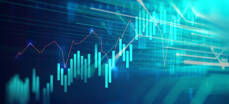 financial stock market graph on an abstract background